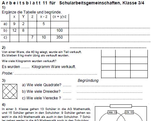 Arbeitsblätter für Grundschulen