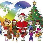 illustration of santa claus with children